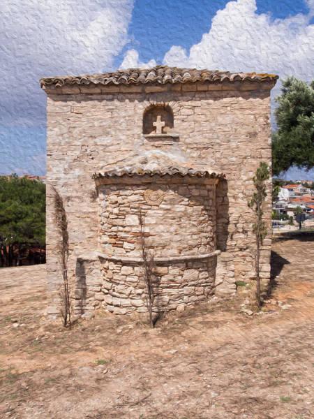 Macedonia Digital Art - Small Greek Church by Roy Pedersen