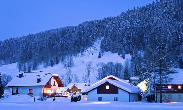 Chalet Photograph - Small Houses In Winter Wonderland by Stockimages at