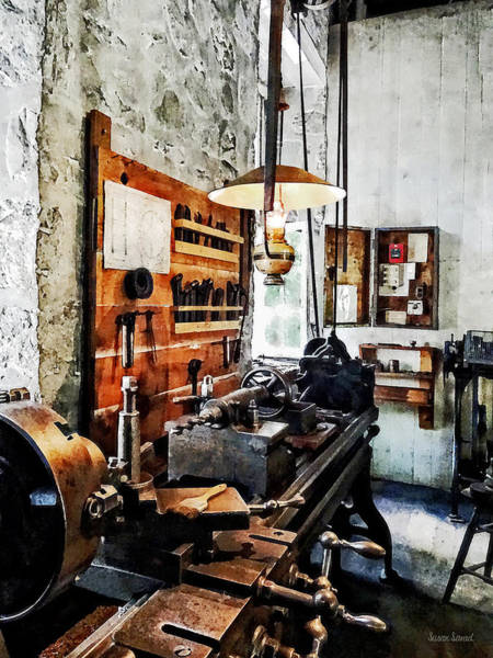 Photograph - Small Lathe In Machine Shop by Susan Savad