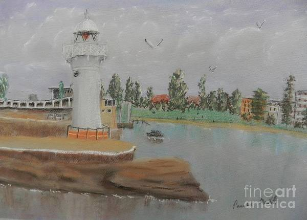Wall Art - Painting - Small Lighthouse At Wollongong Harbour by Pamela  Meredith