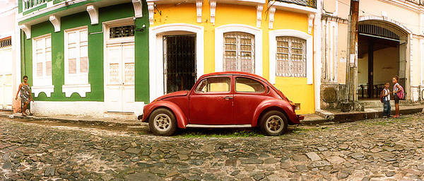 Pelourinho Photograph - Small Old Red Car Parked In Front by Panoramic Images