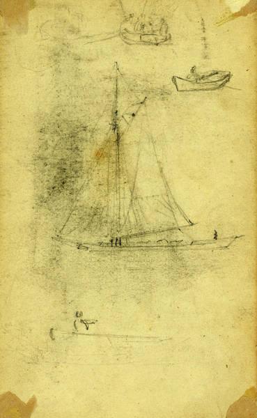 Wall Art - Drawing - Small Sailboat And Rowboats, Between 1860 And 1865 by Quint Lox