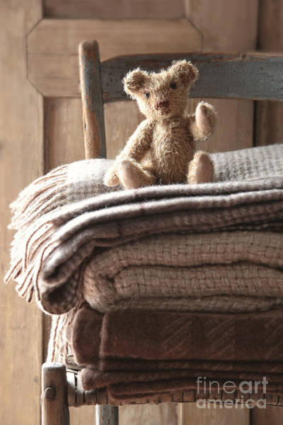 Photograph - Small Teddy Bear On Chair With Wool Blankets by Sandra Cunningham