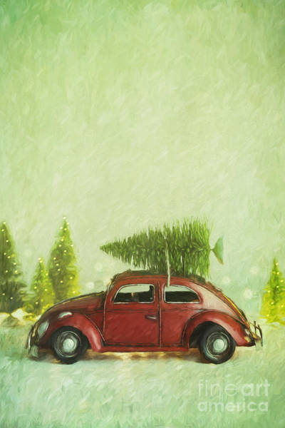 Photograph - Small Toy Car With Tree On Top/ Digital Painting by Sandra Cunningham