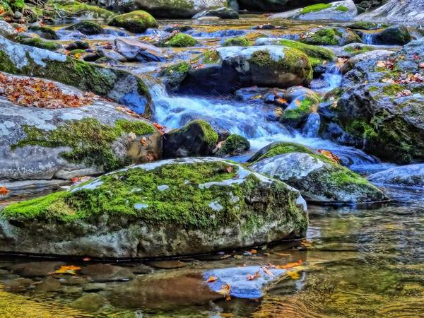 Photograph - Small Waterfall Moss Covered Rocks by Dan Sproul