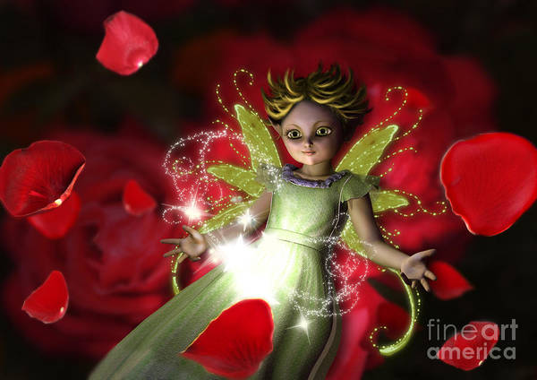 Digital Art - Small Young Fairy Playing With Magic And Rose Petals by Elle Arden Walby
