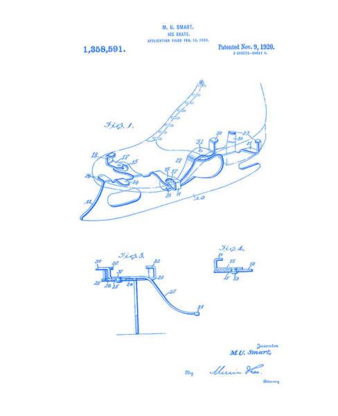 Digital Art - Smart Skate 1920 Patent Blueprint  by Lesa Fine