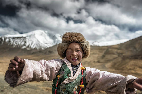 Laughs Wall Art - Photograph - Smile {tibet} by Sarawut Intarob