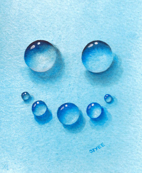 Painting - Smiley Water Drops by Oiyee At Oystudio
