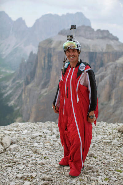 Base Jumping Photograph - Smiling Base Jumper In Wingsuit by Woods Wheatcroft