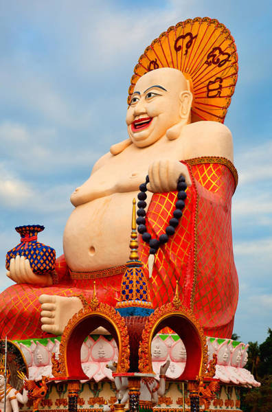 Giant Buddha Photograph - smiling Buddha by Adrian Evans