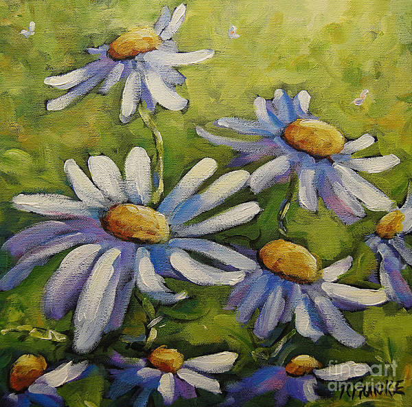 Floral Shower Curtain Painting - Smiling Daisies By Prankearts by Richard T Pranke