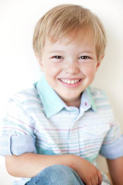 Wall Art - Photograph - Smiling Four Year Old Boy by Ian Hooton/science Photo Library