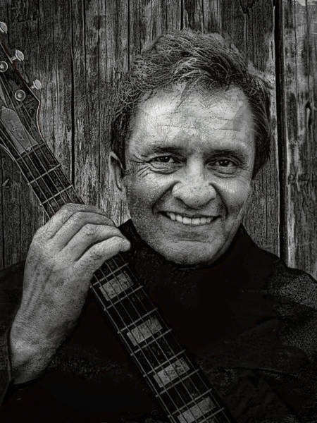 Wall Art - Digital Art - Smiling Johnny Cash by Daniel Hagerman