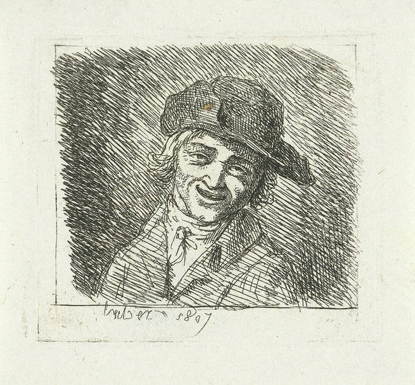 Wall Art - Drawing - Smiling Man With Hat, Frdric Thodore Faber by Fr?d?ric Th?odore Faber