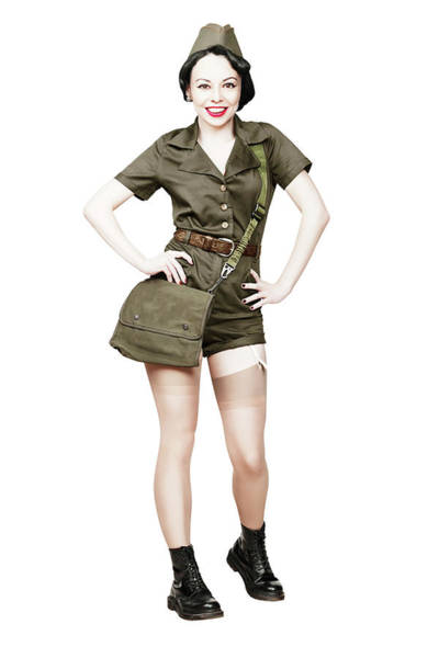 Wall Art - Photograph - Smiling Pin-up Girl Dressed In Military by Oleg Zabielin