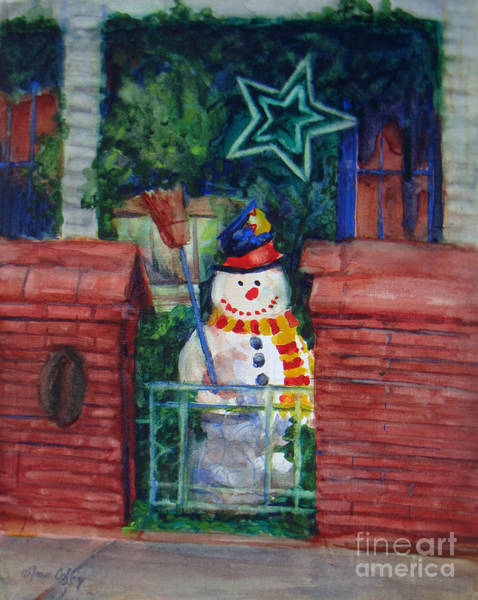Painting - Smiling Snowman 1 by Joan Coffey