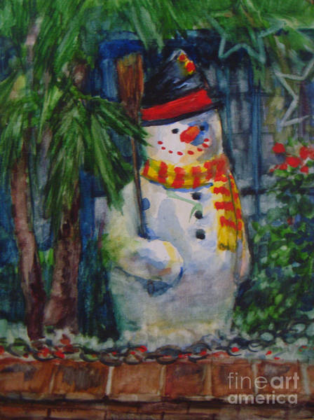 Painting - Smiling Snowman by Joan Coffey