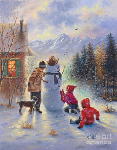 Wall Art - Painting - Snowman Three Kids by Vickie Wade