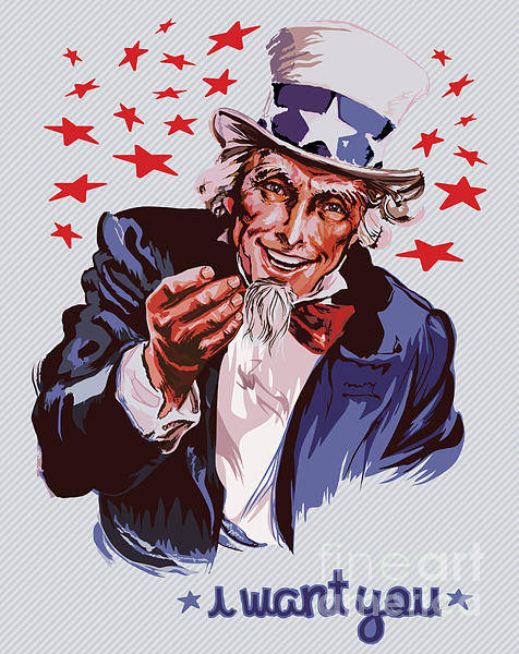 Elderly Wall Art - Digital Art - Smiling Uncle Sam Removable Text by Ultraviolet