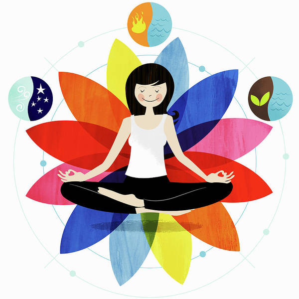 Exuberance Photograph - Smiling Woman Sitting In Lotus Position by Ikon Ikon Images