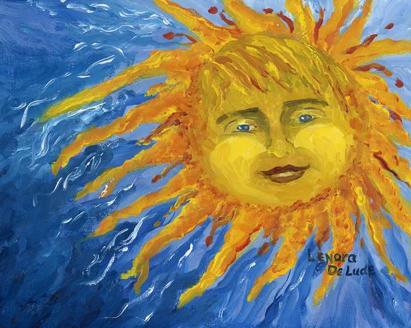 Smiling Yellow Sun In Blue Sky Art Print
