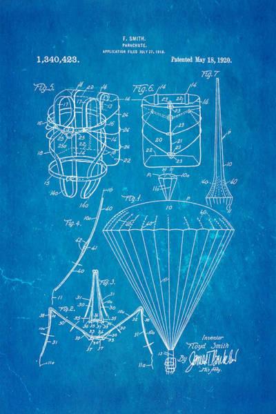 Smith Parachute Patent Art 1920 Blueprint Art Print