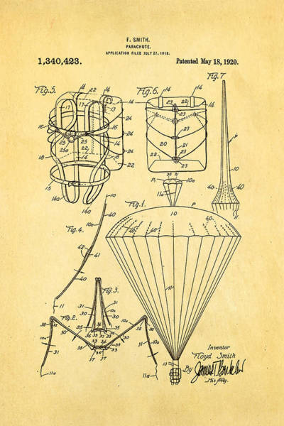 Skydiver Photograph - Smith Parachute Patent Art 1920 by Ian Monk