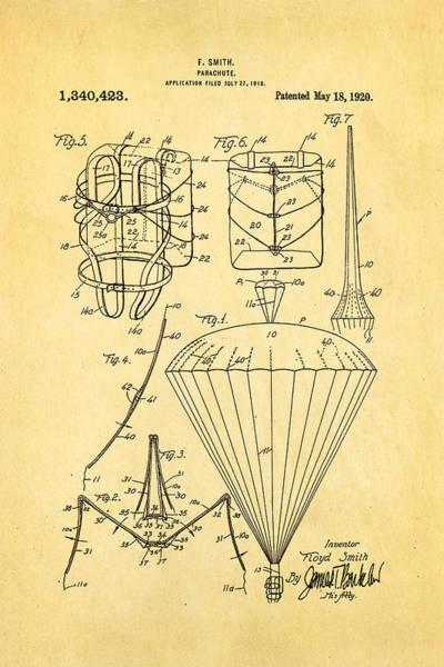 Smith Parachute Patent Art 1920 Art Print