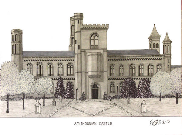 Wall Art - Drawing - Smithsonian Castle by Frederic Kohli