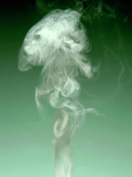Backgrounds Photograph - Smoke Against Green Background by Steven Puetzer