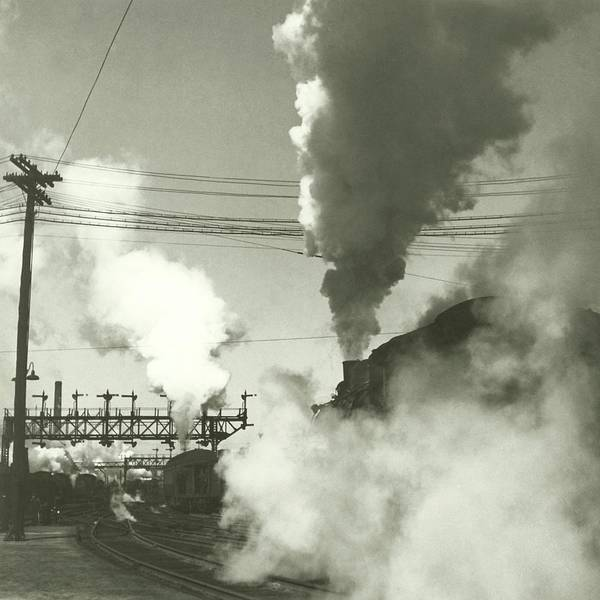 Train Photograph - Smoke Billowing From Trains by Remie Lohse