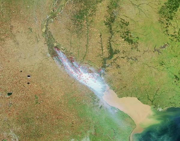 Buenos Aires Photograph - Smoke Over Buenos Aires by Nasa/science Photo Library