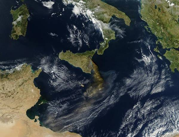 Wall Art - Photograph - Smoke Plume From Mount Etna by Nasa/science Photo Library