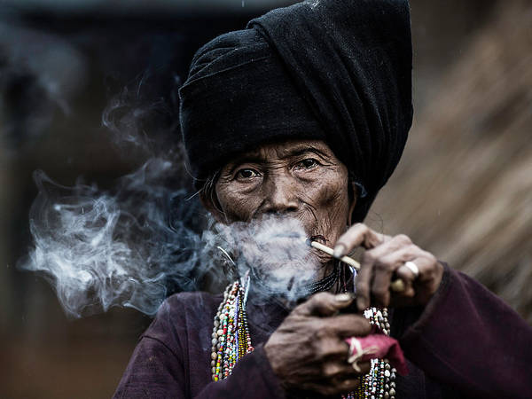 Myanmar Wall Art - Photograph - Smoking 2 by Amnon Eichelberg