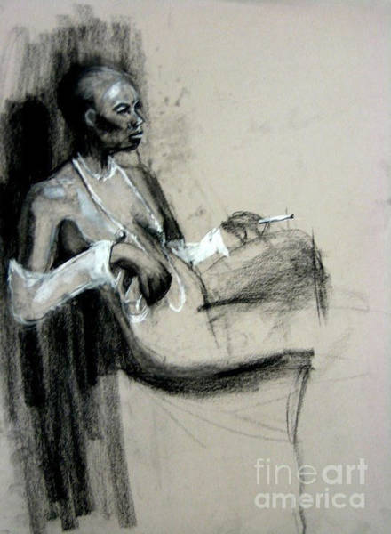 Art Print featuring the drawing Smoking by Gabrielle Wilson-Sealy