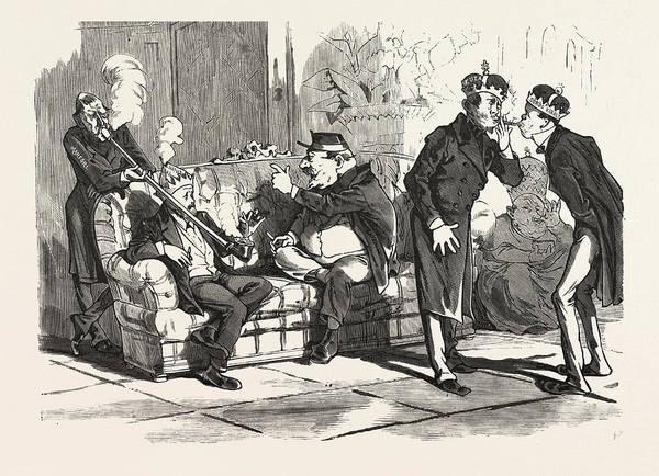 Caucasian Drawing - Smoking, Smokers, Pipe, 19th Century, Hungary, Caucasian by Hungarian School