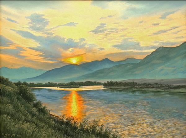 Sunrise Painting - Smoky Sunrise-yellowstone River   by Paul Krapf
