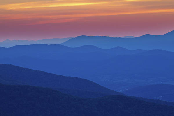 Photograph - Smoky Sunset In Shenandoah National Park by Pierre Leclerc Photography