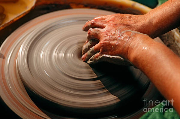 Potters Wheel Wall Art - Photograph - Smoothing Clay by James L. Amos