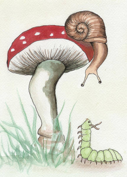 Snail Wall Art - Painting - Snail And Caterpillar by Melissa Rohr Gindling