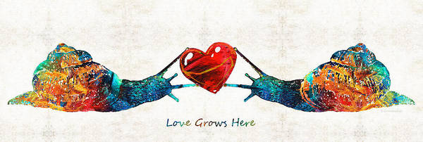 Painting - Snail Art - Love Grows Here - By Sharon Cummings by Sharon Cummings