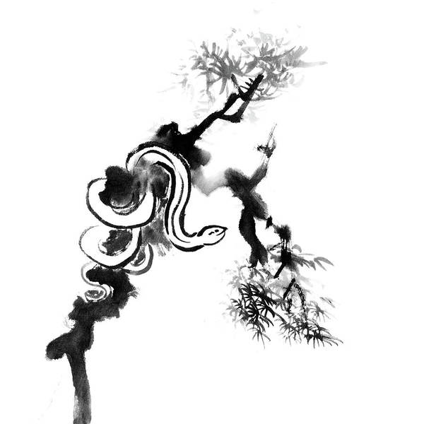 Calligraphy Digital Art - Snake On Tree by Vii-photo
