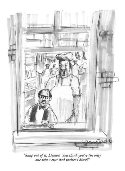 Waiter Drawing - Snap by Michael Crawford