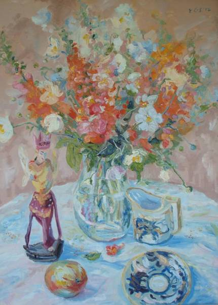 Snapdragons Painting - Snapdragons And Balinese Figure by Elinor Fletcher