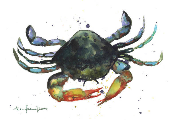 Crab Painting - Snappy Crab by Alison Fennell