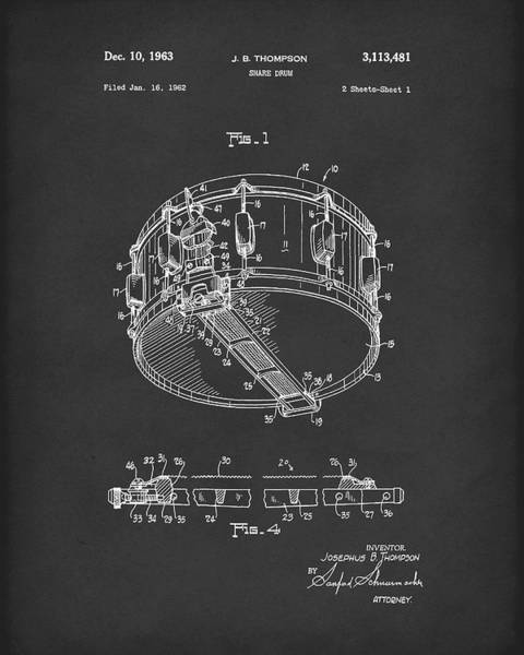 Drawing - Snare Drum 1963 Patent Art Black by Prior Art Design