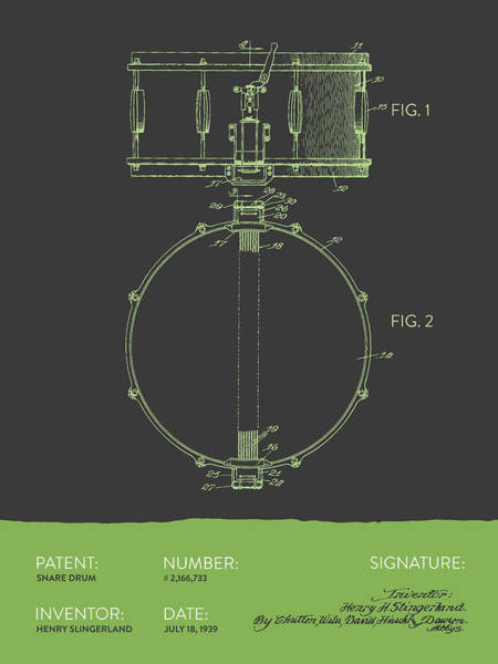 Country Living Digital Art - Snare Drum Patent From 1939 - Gray Green by Aged Pixel