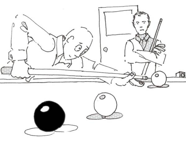Drawing - Snooker Cartoon by Mike Jory