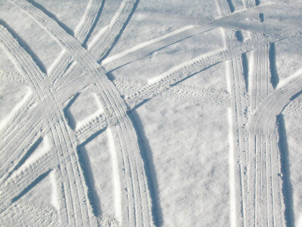 Photograph - Snow And Car Tracks by Rob Huntley